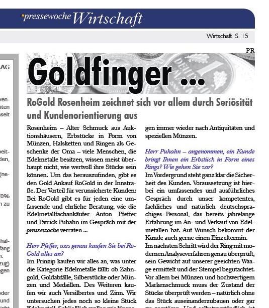Interview in der Pressewoche zum Edelmetallankauf...